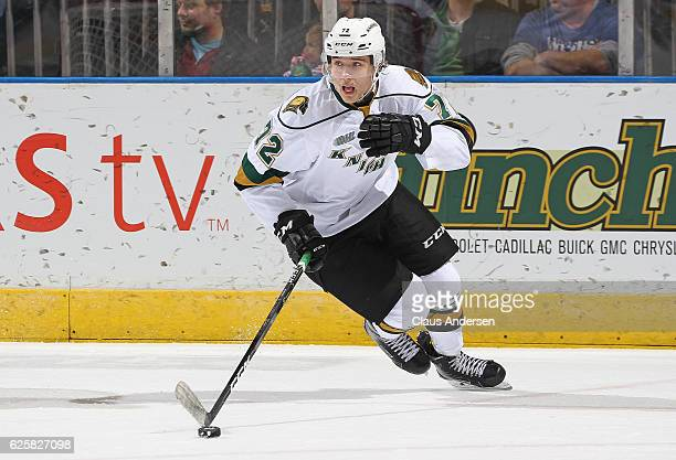 Janne Koukkanen of the London Knights skates with the puck against the Barrie Colts during an OHL game at Budweiser Gardens on November 25 2016 in...