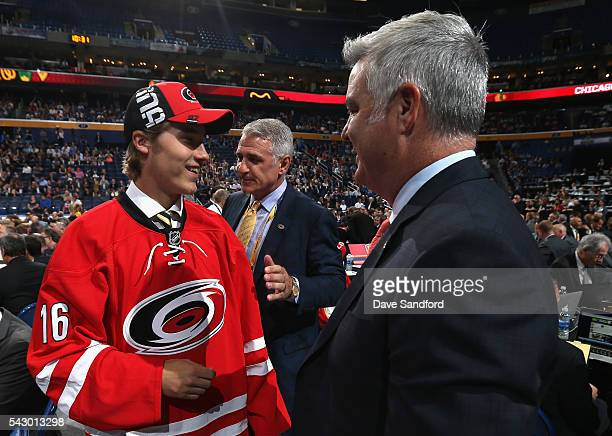 Janne Kuokkanen greets the team after being selected 43rd overall by the Carolina Hurricanes during the 2016 NHL Draft at First Niagara Center on...