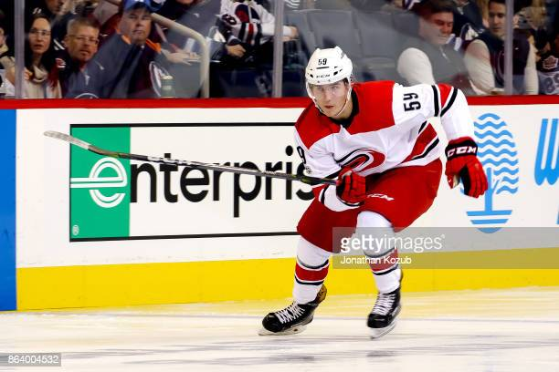Janne Kuokkanen of the Carolina Hurricanes follows the play down the ice during second period action against the Winnipeg Jets at the Bell MTS Place...