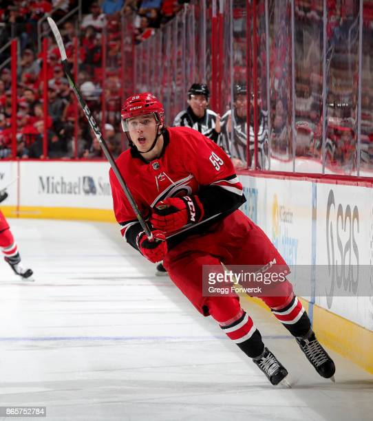 Janne Kuokkanen of the Carolina Hurricanes skates for position along the boards against the Minnesota Wild during an NHL game on October 7 2017 at...