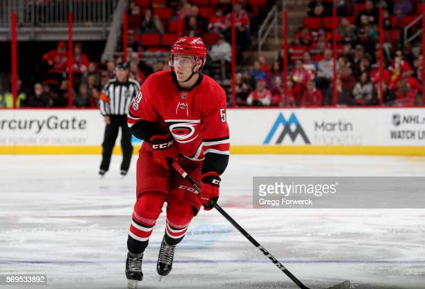 Janne Kuokkanen of the Carolina Hurricanes skates for position on the ice against the Anaheim Ducks during an NHL game on October 29 2017 at PNC...