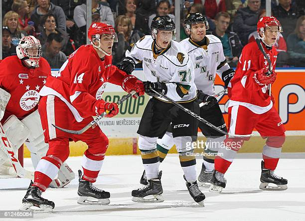 Janne Kuokkanen of the London Knights battles against Theo Calvas of the Sault Ste Marie Greyhounds during an OHL game on Sept 30 2016 at Budweiser...