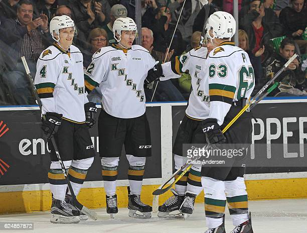 Janne Kuokkanen of the London Knights celebrates a goal with teammates against the North Bay Battalion during an OHL game at the Budweiser Gardens on...