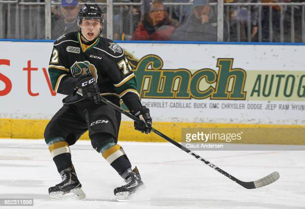 Janne Kuokkanen of the London Knights skates against the Erie Otters during an OHL game at Budweiser Gardens on March 10 2017 in London Ontario...