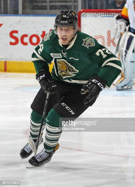 Janne Kuokkanen of the London Knights skates against the Erie Otters in Game Six of the OHL Western Conference SemiFinal on April 16 2017 at...