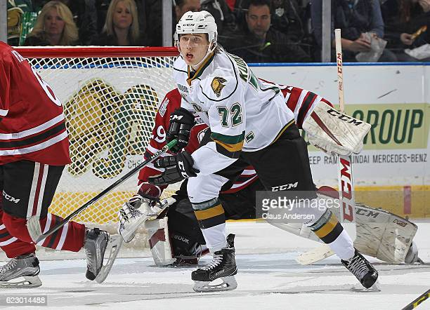 Janne Kuokkanen of the London Knights skates against the Guelph Storm during an OHL game at Budweiser Gardens on November 12 2016 in London Ontario...