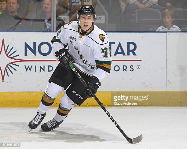 Janne Kuokkanen of the London Knights skates against the Hamilton Bulldogs during an OHL game at Budweiser Gardens on November 6 2016 in London...