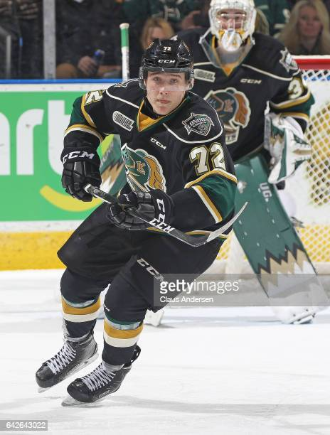 Janne Kuokkanen of the London Knights skates against the Owen Sound Attack during an OHL game at Budweiser Gardens on February 17 2017 in London...