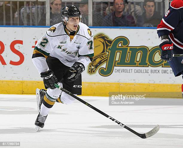 Janne Kuokkanen of the London Knights skates against the Saginaw Spirit during an OHL game at Budweiser Gardens on October 21 2016 in London Ontario...