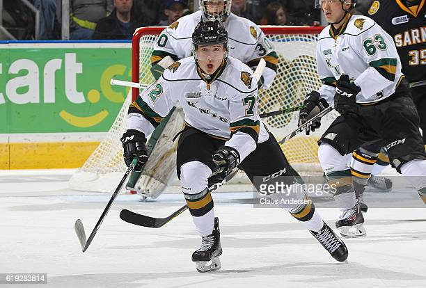 Janne Kuokkanen of the London Knights skates against the Sarnia Sting during an OHL game at Budweiser Gardens on October 29 2016 in London Ontario...