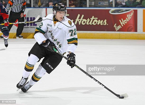 Janne Kuokkanen of the London Knights skates with the puck against the Windsor Spitfires during an OHL game at Budweiser Gardens on October 142016 in...
