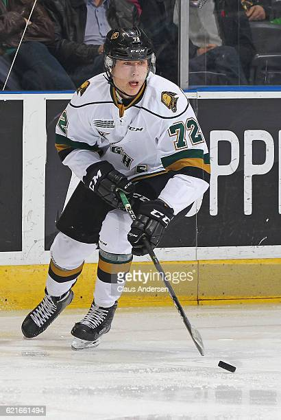 Janne Kuokkanen of the London Knights skates with the puck against the Hamilton Bulldogs during an OHL game at Budweiser Gardens on November 6 2016...