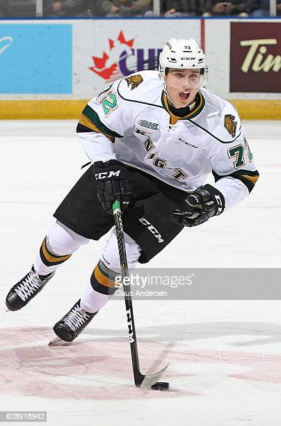 Janne Kuokkanen of the London Knights skates with the puck against the Mississauga Steelheads during an OHL game at Budweiser Gardens on December 9...