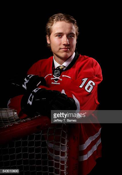 Janne Kuokkanen poses for a portrait after being selected 43rd overall by the Carolina Hurricanes during the 2016 NHL Draft on June 25 2016 in...