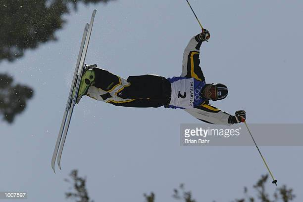 Janne Lahtela of Finland competes in the final round of the men's mogul event during the Salt Lake City Winter Olympic Games on February 12 2002 at...