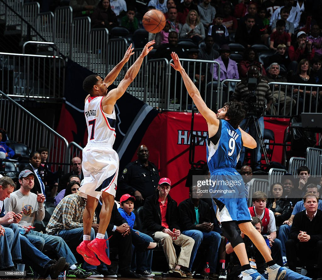 <a gi-track='captionPersonalityLinkClicked' href=/galleries/search?phrase=Jannero+Pargo&family=editorial&specificpeople=206618 ng-click='$event.stopPropagation()'>Jannero Pargo</a> #7 of the Atlanta Hawks takes a shot against the Minnesota Timberwolves on January 21, 2013 at Philips Arena in Atlanta, Georgia.