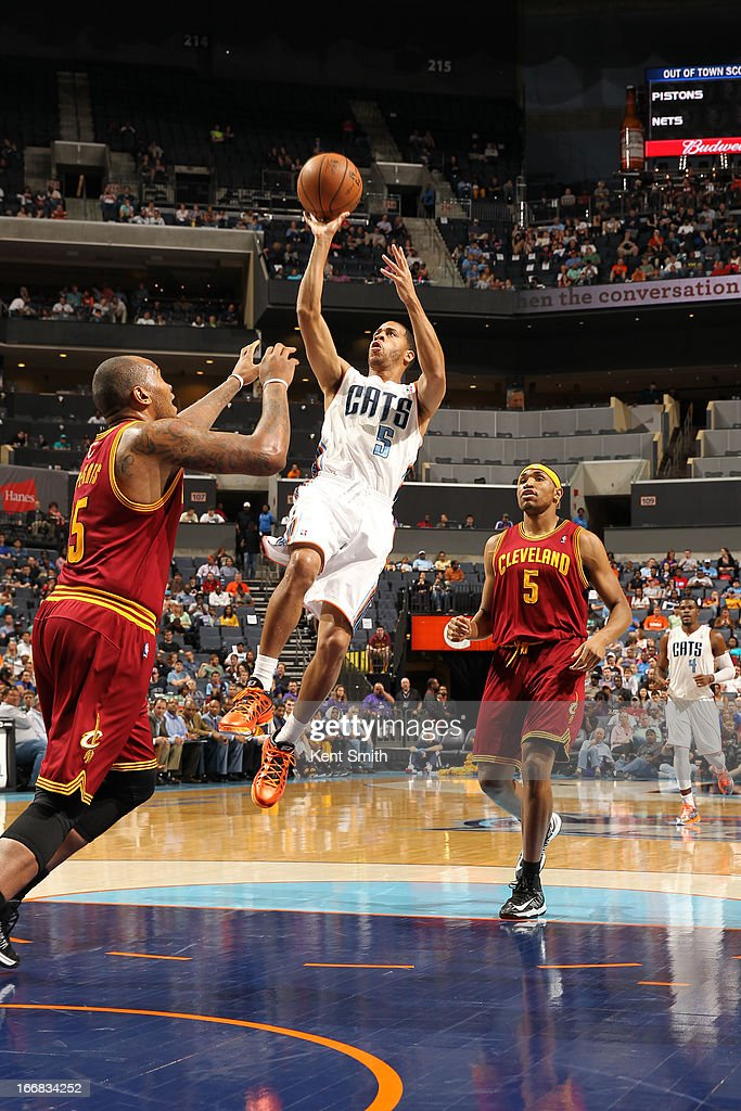 Jannero Pargo #5 of the Charlotte Bobcats shoots against Marreese Speights #15 of the Cleveland Cavaliers at the Time Warner Cable Arena on April 17, 2013 in Charlotte, North Carolina.