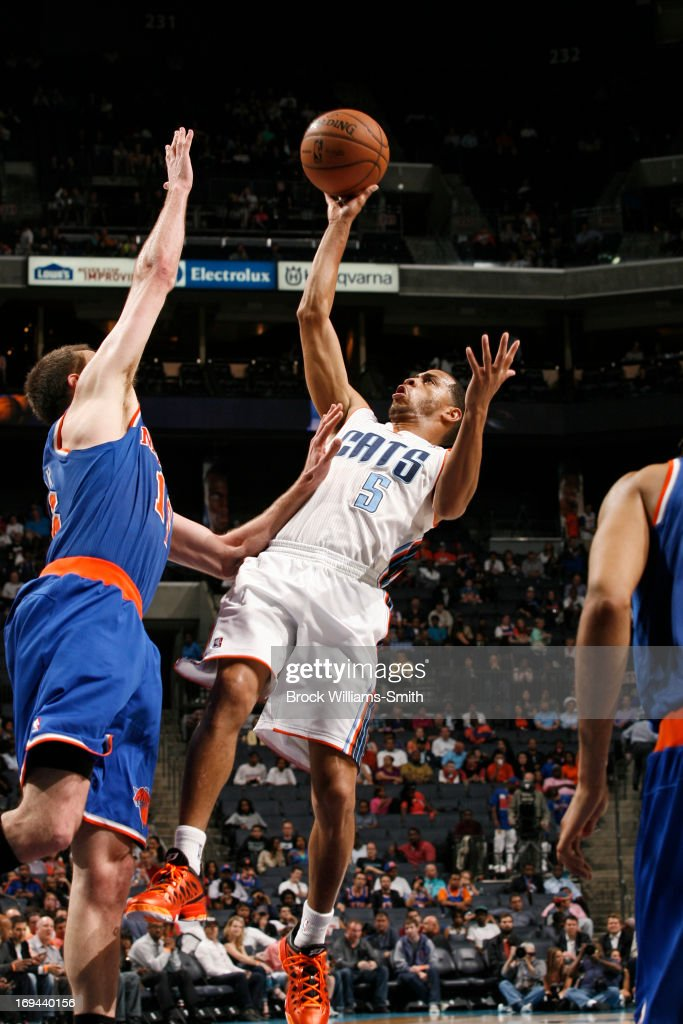 Jannero Pargo #5 of the Charlotte Bobcats shoots an awkward shot against the New York Knicks at the Time Warner Cable Arena on April 15, 2013 in Charlotte, North Carolina.