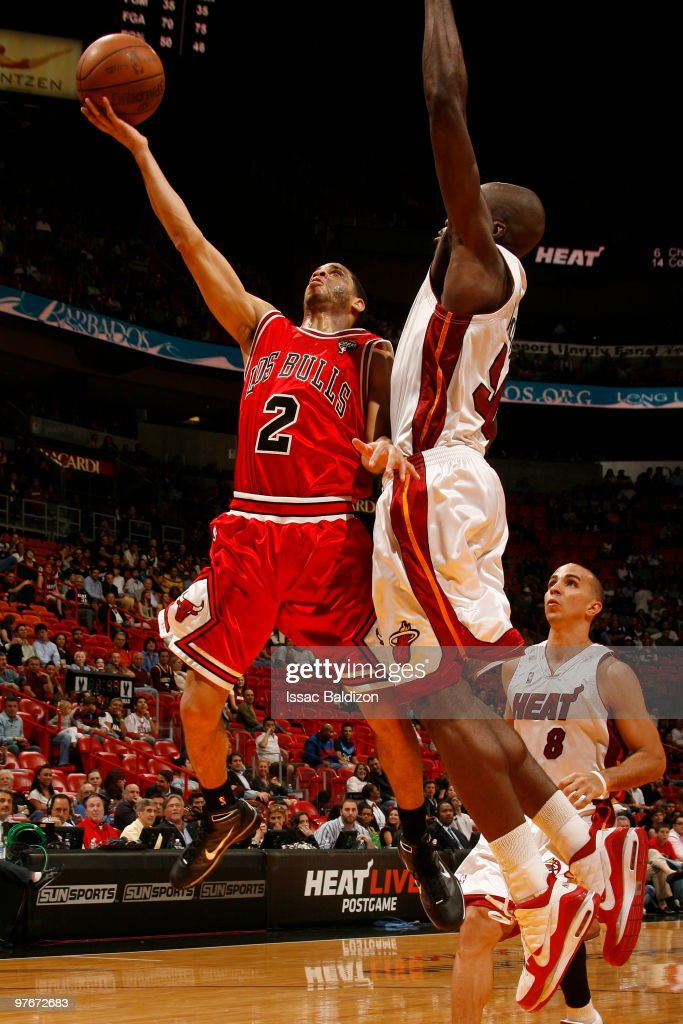 Jannero Pargo #2 of the Chicago Bulls shoots against Joel Anthony #50 of the Miami Heat on March 12, 2010 at American Airlines Arena in Miami, Florida.