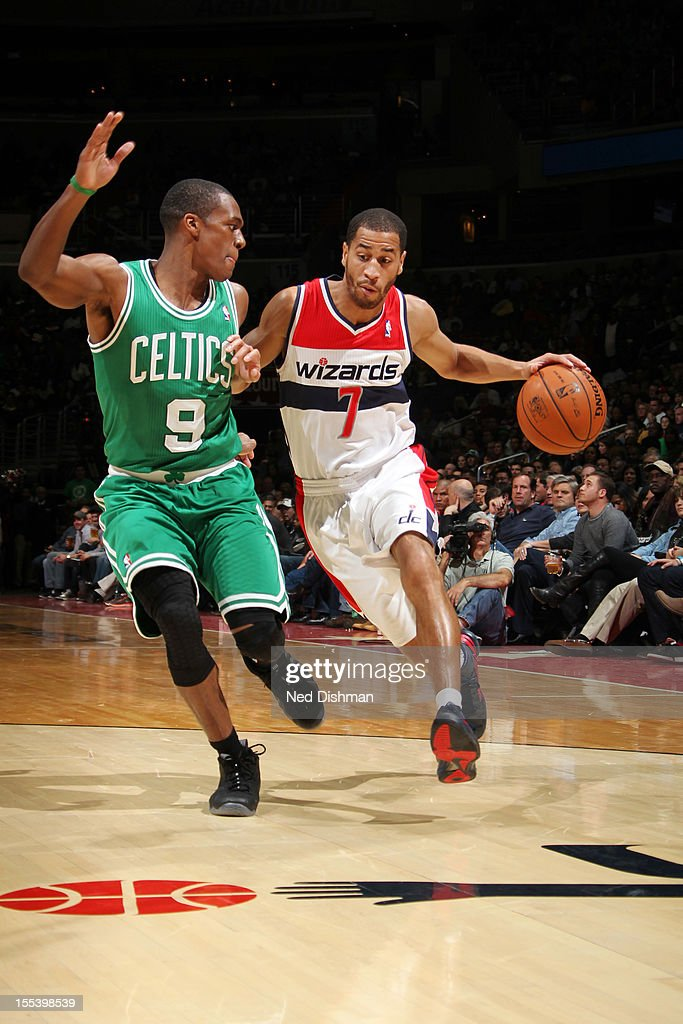 Jannero Pargo #7 of the Washington Wizards shoots against Rajon Rondo #9 of the Boston Celtics during the game at the Verizon Center on November 3, 2012 in Washington, DC.