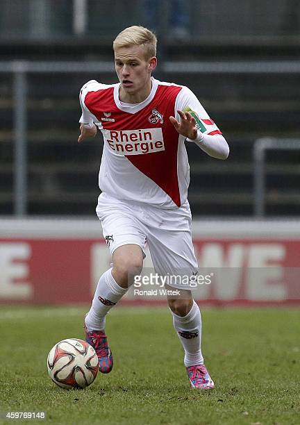 Jannes Hoffmann of Koeln runs with the ball during the Regionalliga West match between 1 FC Koeln II and RotWeiss Essen at FranzKremerStadion on...