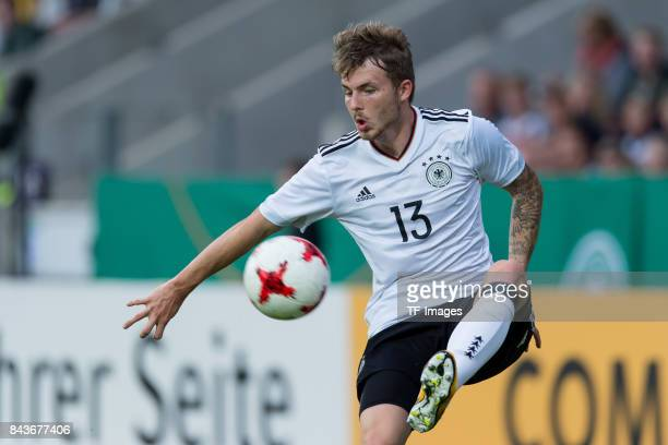 Jannes Horn of Germany controls the ball during the U21 UEFA 2018 EM Qualifying match between Germany and Kosovo at the Stadion Bremer Bruecken in...