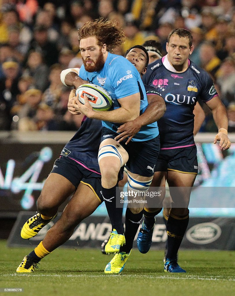 Jannes Kirsten of the Bulls is tackled during the round 11 Super Rugby match between the Brumbies and the Bulls at GIO Stadium on May 6, 2016 in Canberra, Australia.