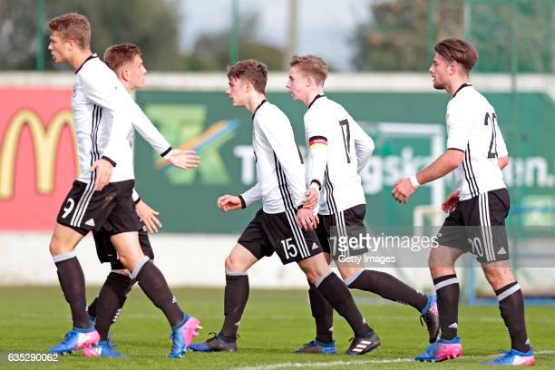 JannFiete Arp Alexander Lungwitz Yannik Keitel Erik Majetschak JoseEnrique Rios Alonso Players of Germany U17 celebrating their goal during the U17...