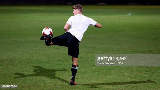 JannFiete Arp of Germany in action during the training session a day before the FIFA U17 World Cup India 2017 Quarter Final match between Germany and...