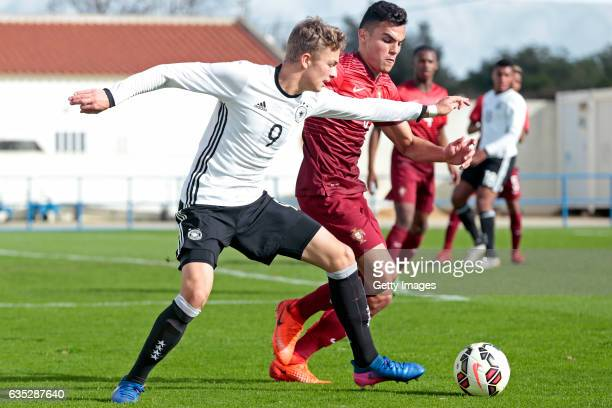 JannFiete Arp of Germany U17 challenges Pedro Alvaro of Portugal U17 during the U17 Algarve Cup Tournament Match between Portugal U17 and Germany U17...