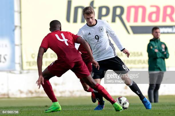 JannFiete Arp of Germany U17 challenges Tiago Djaló of Portugal U17 during the U17 Algarve Cup Tournament Match between Portugal U17 and germany U17...