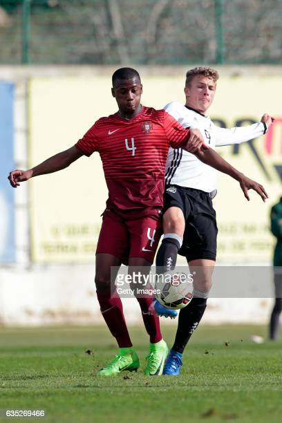 JannFiete Arp of Germany U17 challenges Tiago Djalo of Portugal U17 during the U17 Algarve Cup Tournament Match between Portugal U17 and germany U17...