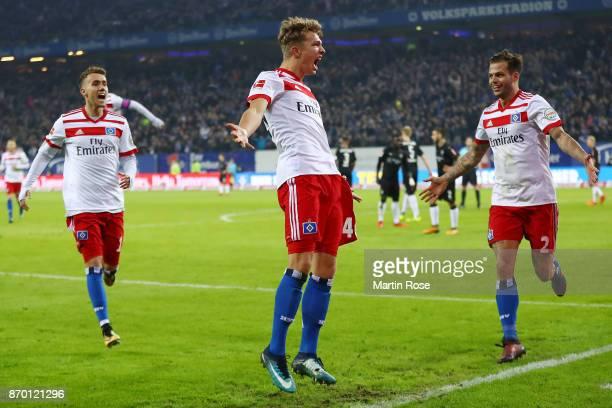 JannFiete Arp of Hamburg celebrates after he scored a goal to make it 31 during the Bundesliga match between Hamburger SV and VfB Stuttgart at...