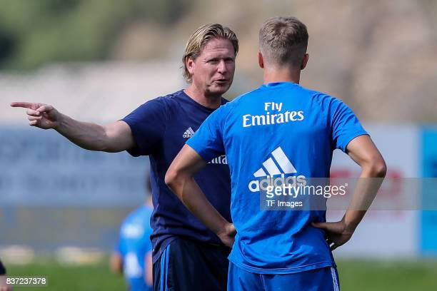 JannFiete Arp of Hamburg Head coach Markus Gisdol of Hamburg gestures during the Training Camp of Hamburger SV on July 23 2017 in Laengenfeld Austria