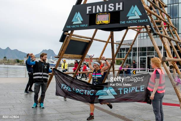 Jannicke Kildahl wins the womens class at The Arctic Triple // Lofoten Triathlon Olympic distance on August 18 2017 in Svolvar Norway Lofoten...