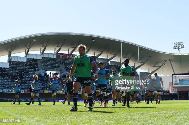 Jannie Du Plessis and Team of Montpellier during the Top 14 match between Montpellier and Bayonne on April 16 2017 in Montpellier France