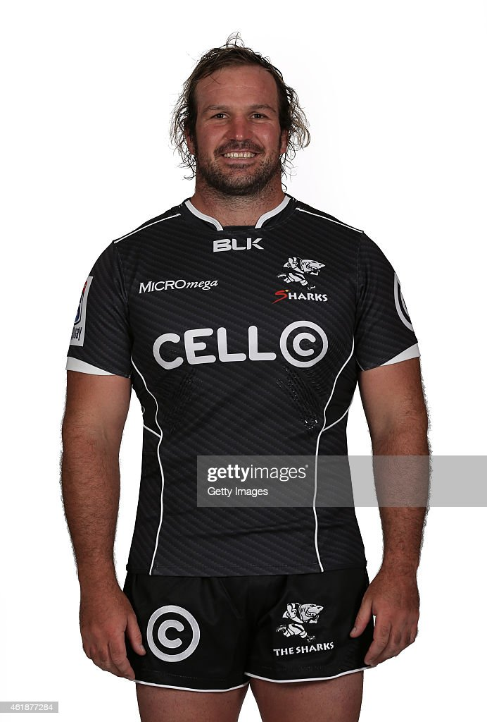 Jannie du Plessis of the Natal Sharks poses during a Sharks Super Rugby headshots session on January 20 2015 in Durban South Africa