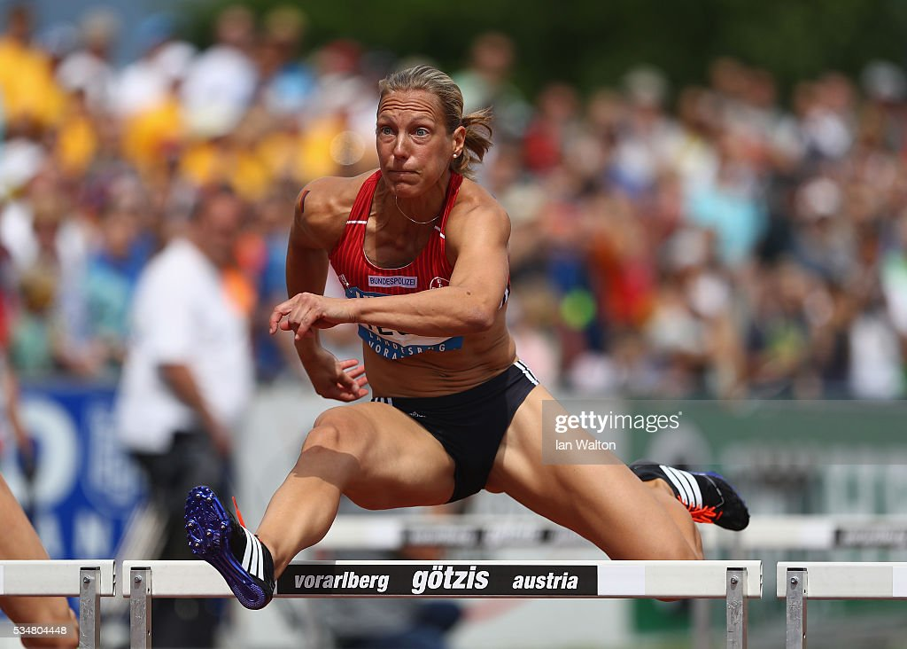 Jannifer Oeser of Germany in action in the Women's Heptathlon 100 metres hurdles during the Hypomeeting Gotzis 2016 at the Mosle Stadiom on May 28, 2016 in Gotzis, Austria.