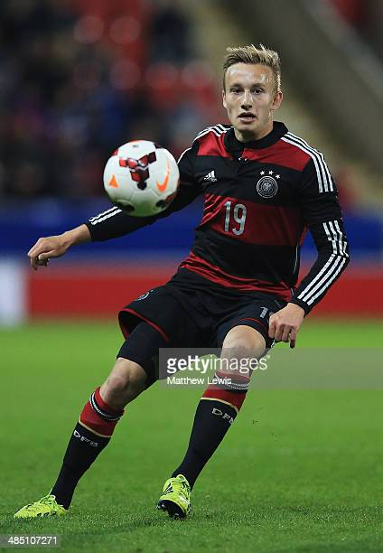 Jannik Dehm of Germany in action during the Under 18 International Friendly match between England U18 and Germany U18 at The New York Stadium on...