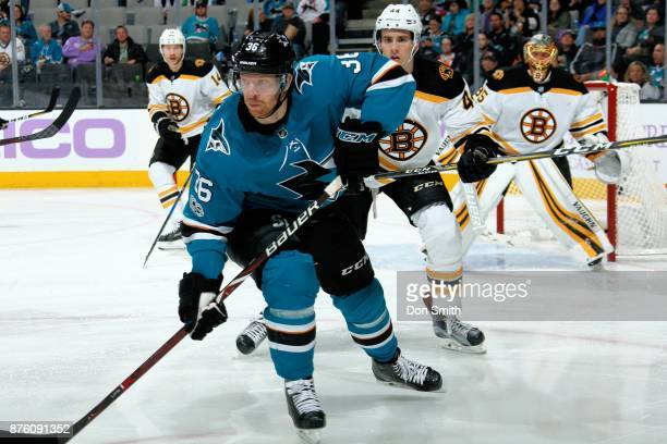 Jannik Hansen of the San Jose Sharks looks during a NHL game against the Boston Bruins at SAP Center on November 18 2017 in San Jose California