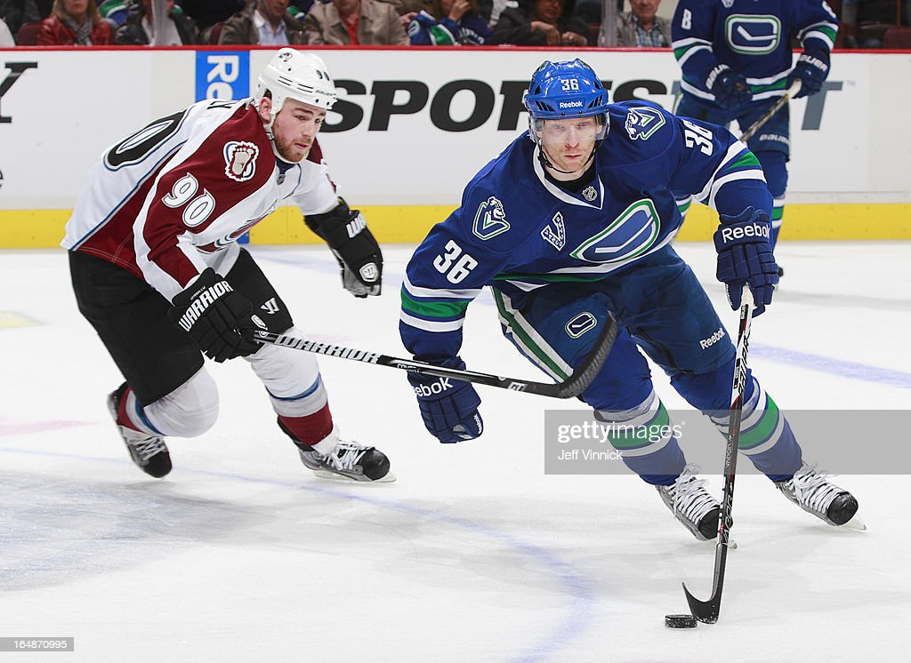 <a gi-track='captionPersonalityLinkClicked' href=/galleries/search?phrase=Jannik+Hansen&family=editorial&specificpeople=741716 ng-click='$event.stopPropagation()'>Jannik Hansen</a> #36 of the Vancouver Canucks pulls away from <a gi-track='captionPersonalityLinkClicked' href=/galleries/search?phrase=Ryan+O%27Reilly&family=editorial&specificpeople=4754037 ng-click='$event.stopPropagation()'>Ryan O'Reilly</a> #90 of the Colorado Avalanche during their NHL game at Rogers Arena March 28, 2013 in Vancouver, British Columbia, Canada. Vancouver won 4-1.