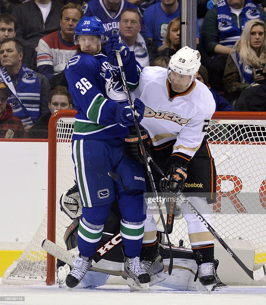Jannik Hansen #36 of the Vancouver Canucks reacts as he is about to get hit by the puck while battling with Francois Beauchemin #23 of the Anaheim Ducks during the third period in NHL action on January 19, 2013 at Rogers Arena in Vancouver, British Columbia, Canada.