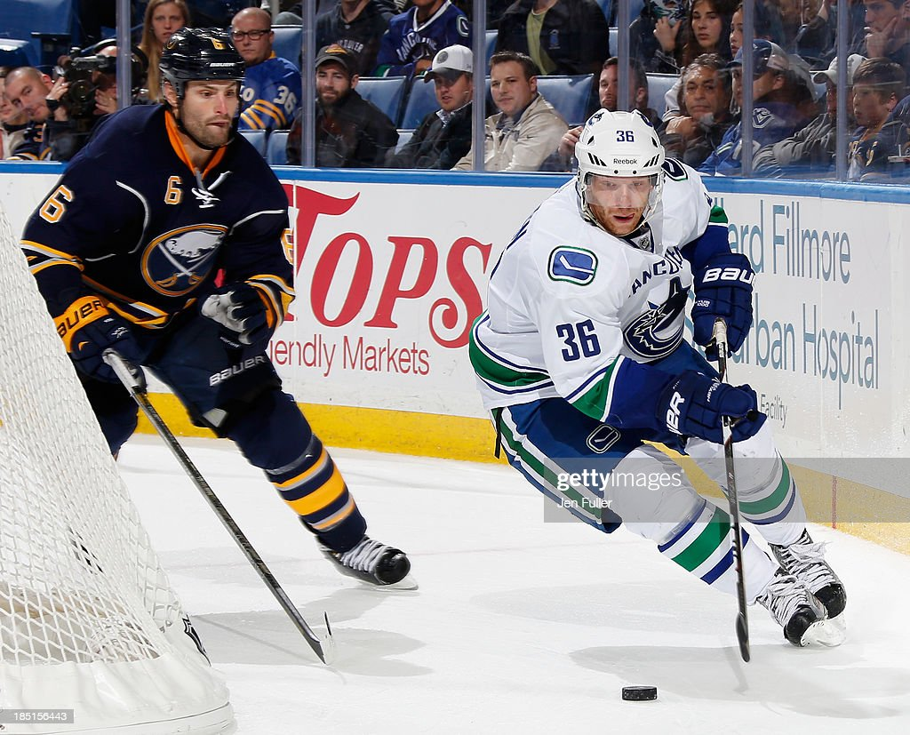 <a gi-track='captionPersonalityLinkClicked' href=/galleries/search?phrase=Jannik+Hansen&family=editorial&specificpeople=741716 ng-click='$event.stopPropagation()'>Jannik Hansen</a> #36 of the Vancouver Canucks skates with the puck behind the net against Mike Weber #6 of the Buffalo Sabres at First Niagara Center on October 17, 2013 in Buffalo, New York. Vancouver defeated Buffalo 3-0.