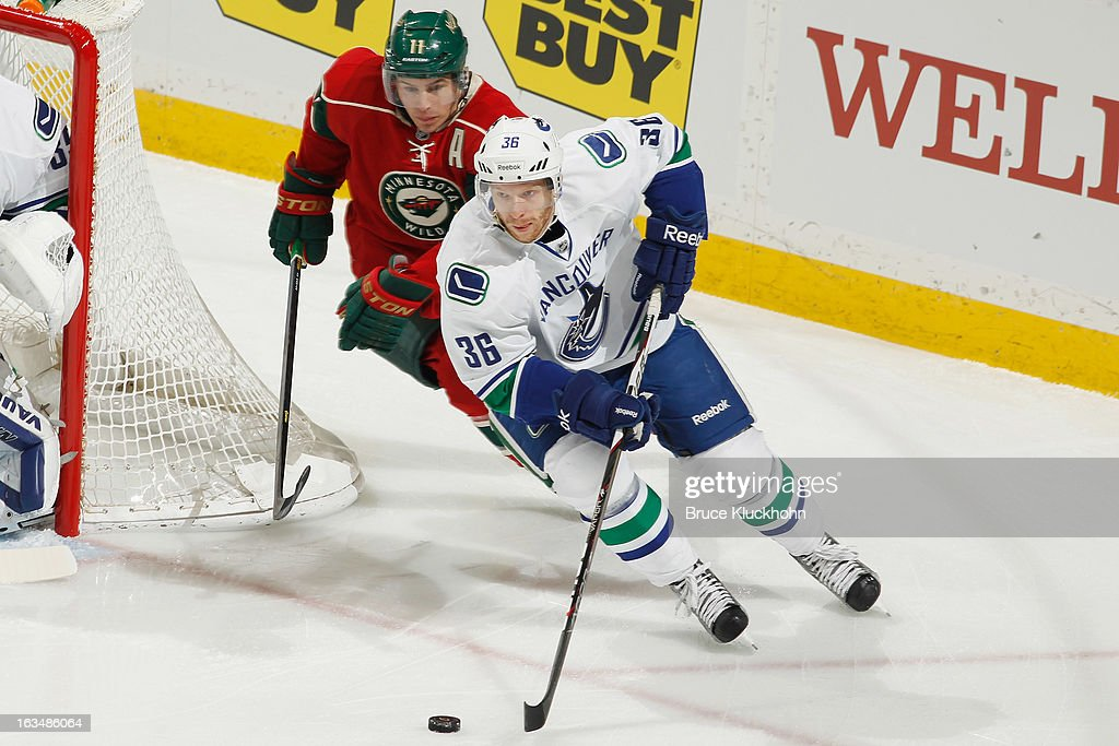 <a gi-track='captionPersonalityLinkClicked' href=/galleries/search?phrase=Jannik+Hansen&family=editorial&specificpeople=741716 ng-click='$event.stopPropagation()'>Jannik Hansen</a> #36 of the Vancouver Canucks skates with the puck while <a gi-track='captionPersonalityLinkClicked' href=/galleries/search?phrase=Zach+Parise&family=editorial&specificpeople=213606 ng-click='$event.stopPropagation()'>Zach Parise</a> #11 of the Minnesota Wild defends during the game on March 10, 2013 at the Xcel Energy Center in Saint Paul, Minnesota.