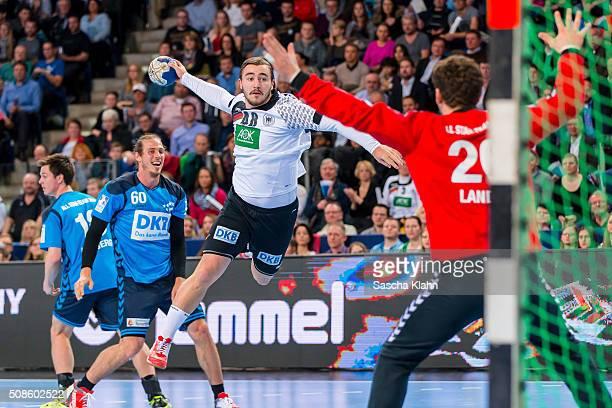 Jannik Kohlbacher challenges goalkeeper Niklas Landin during the All Stars of DKB HandballBundesliga challenge team Germany during the All Star Game...