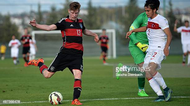 Jannik Mause of Germany misses a chance at goal during the U18 four nations friendly tournament match between Turkey and Germany at Emirhan Sport...