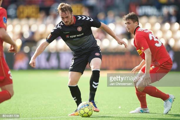 Jannik Pohl of AaB Aalborg compete for the ball during the Danish Alka Superliga match between FC Nordsjalland and AaB Aalborg at Right to Dream Park...