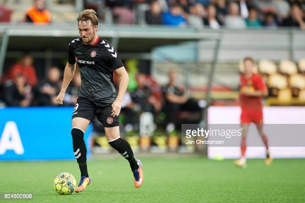 Jannik Pohl of AaB Aalborg controls the ball during the Danish Alka Superliga match between FC Nordsjalland and AaB Aalborg at Right to Dream Park on...