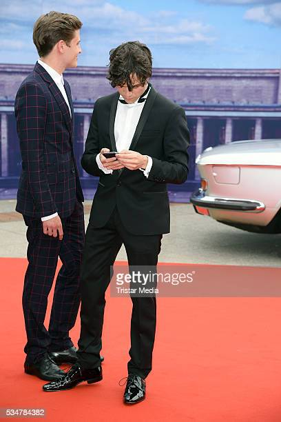 Jannik Schuemann and Sebastian Urzendowsky attend the Lola German Film Award 2016 Red Carpet Arrivals on May 27 2016 in Berlin Germany