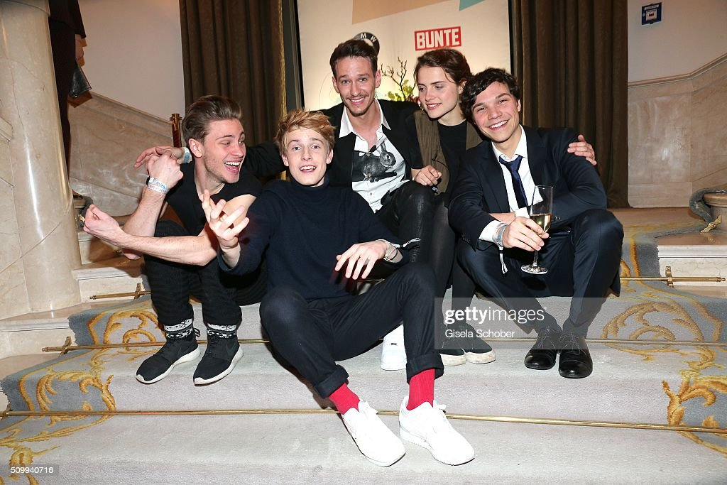 Jannik Schuemann, <a gi-track='captionPersonalityLinkClicked' href=/galleries/search?phrase=Louis+Hofmann&family=editorial&specificpeople=7307522 ng-click='$event.stopPropagation()'>Louis Hofmann</a>, Vladimir Burlakov, Mala Emde and Sebastian Urzendowsky during the Bunte and BMW Festival Night 2016 during the 66th Berlinale International Film Festival Berlin on February 12, 2016 in Berlin, Germany.
